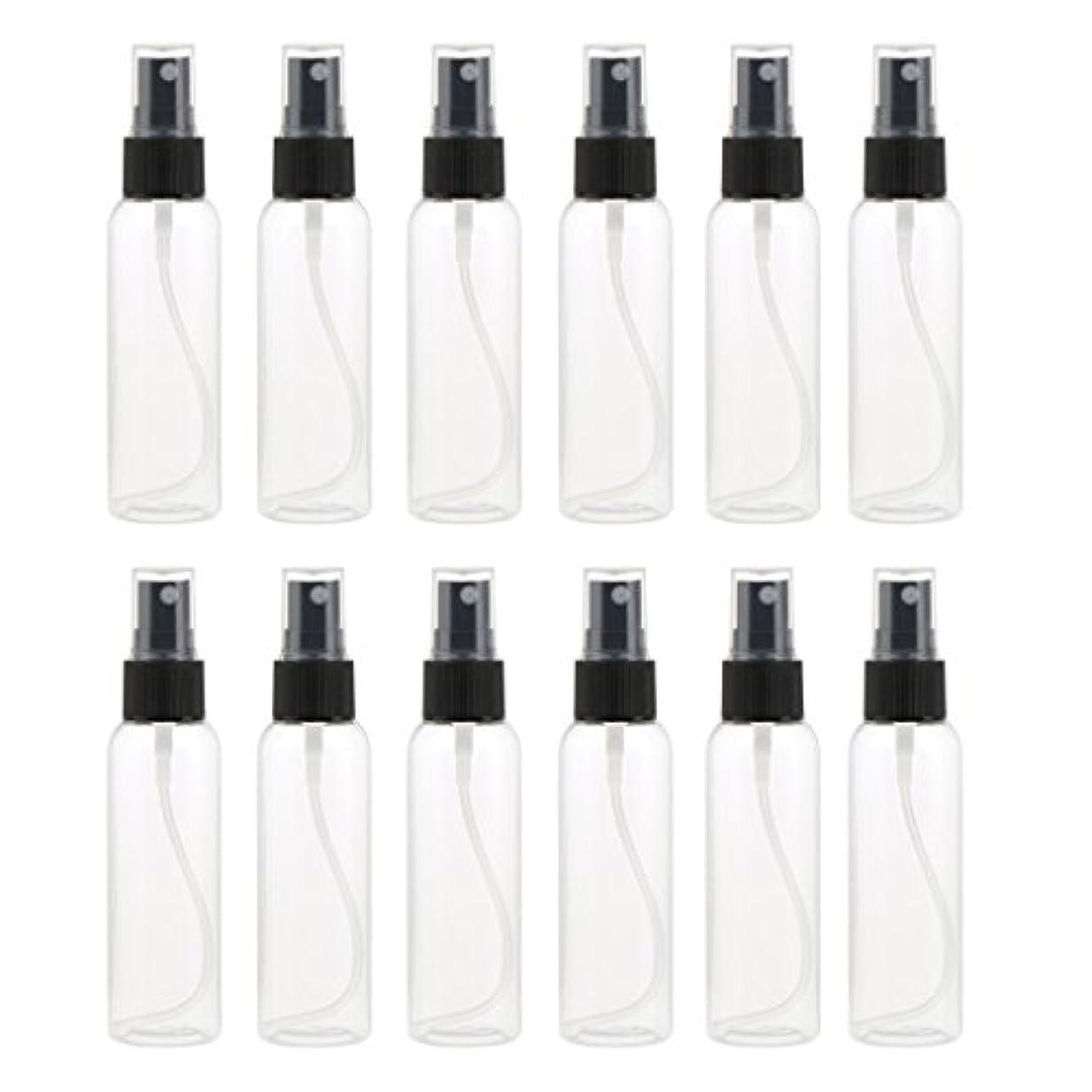 放散する負剃るお買得 プラスチック 分装瓶 スプレーボトル ミストアトマイザー 液体香水 詰め替え 旅行用 60ml 12PCS - ブラック