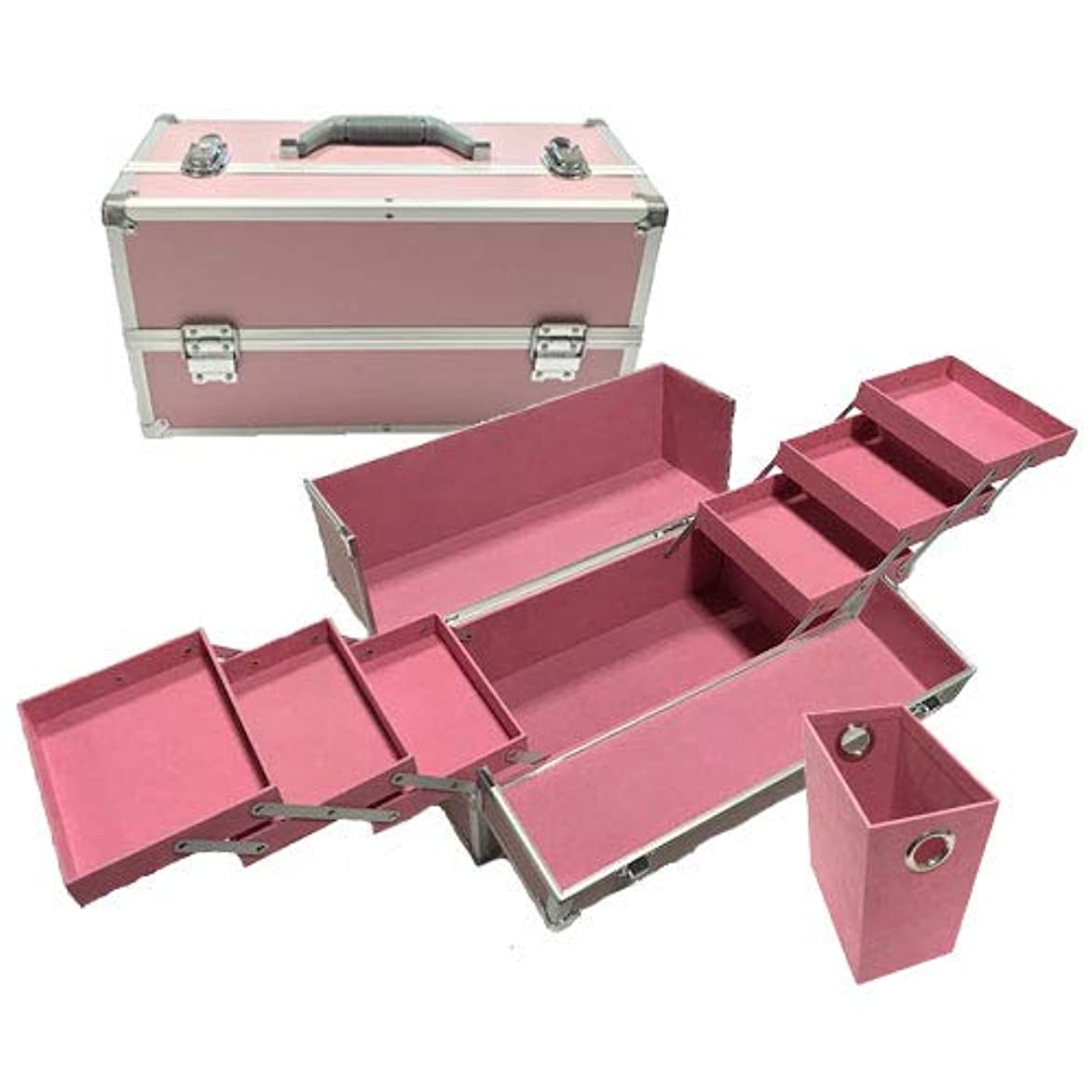 幸運な十分三角形リライアブル コスメボックス ワイド RB203-PP 鍵付き プロ仕様 メイクボックス 大容量 化粧品収納 小物入れ 6段トレー ベロア メイクケース コスメBOX 持ち運び ネイルケース