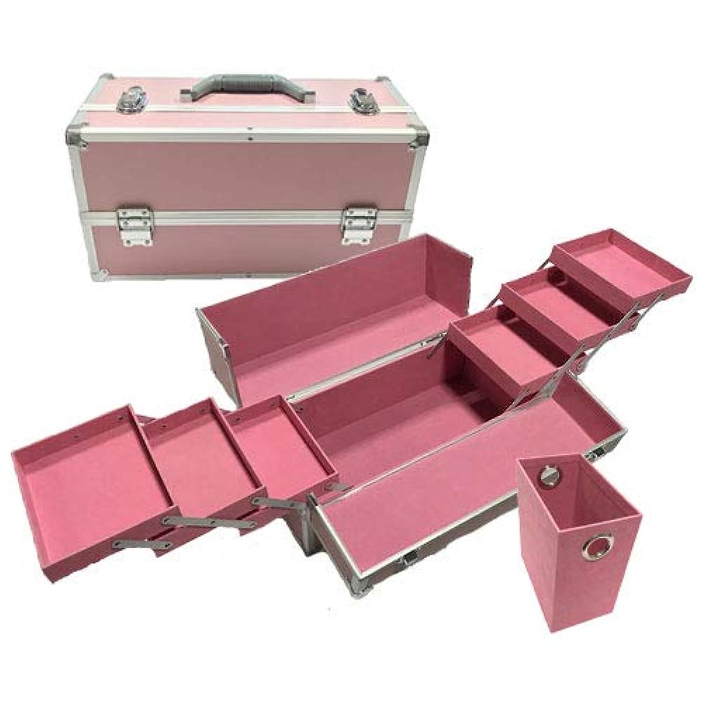 ロードブロッキング土地柔らかさリライアブル コスメボックス ワイド RB203-PP 鍵付き プロ仕様 メイクボックス 大容量 化粧品収納 小物入れ 6段トレー ベロア メイクケース コスメBOX 持ち運び ネイルケース