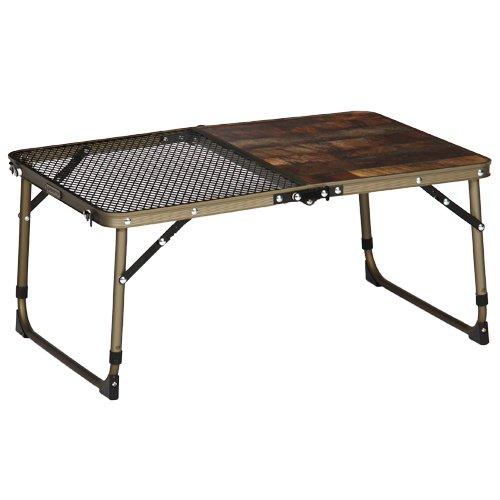 [クイックキャンプ] アウトドア 折りたたみ ハーフスチール 焚き火テーブル アルミ ローテーブル ヴィンテージライン QC-2MT60V