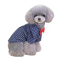 Esolom ペット服 柔らかいカジュアルな犬の格子縞のシャツ 優しい犬のウエスタンシャツ 犬の服 犬の秋の綿シャツ 犬のシャツの格子縞 愛犬服
