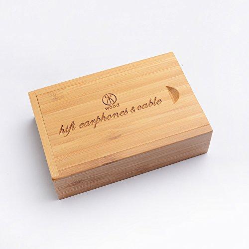 Woodhifi Woodcase イヤホンケース ヘッドホンケース イヤホン収納 ハード コード収納 収納ボックス 竹製 頑丈 ブラック
