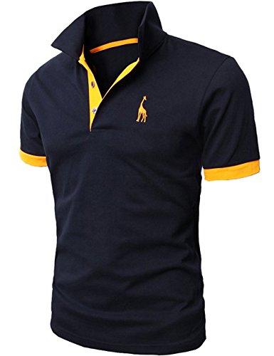 グラストア(Glestore)メンズ 半袖 ポロシャツ半袖 お洒落な重ね着スタイル チェックポロシャツ カジュアル シンプル無地スキニーファッション カッコイイ スポーツウェアゴルフウェア 快適多色選択 M-XXL(M,【タイプ2】紺)