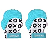 Munch Mitt Trendy Collection Teething Mitten- Original Mom Invented Teething Toy- Teether Stays on Babys Hand for Pain Relief- Ideal Baby Shower Gift with Handy Travel/Laundry Bag- 2 pk Aqua Blue XO [並行輸入品]