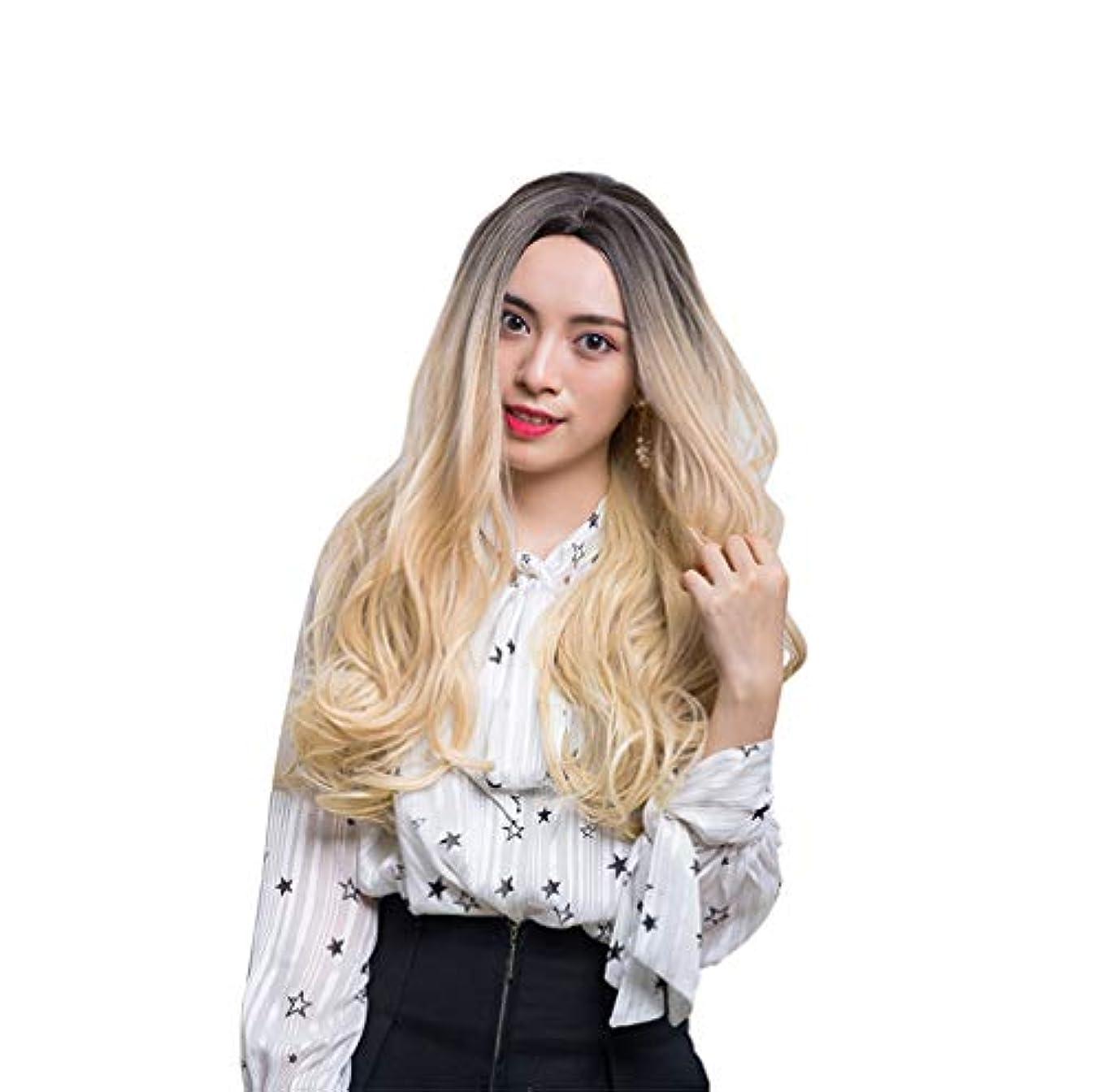 謙虚フェザー現在女性かつら150%高密度人間の髪の毛の長い波のかつら合成耐熱性安い中部かつら
