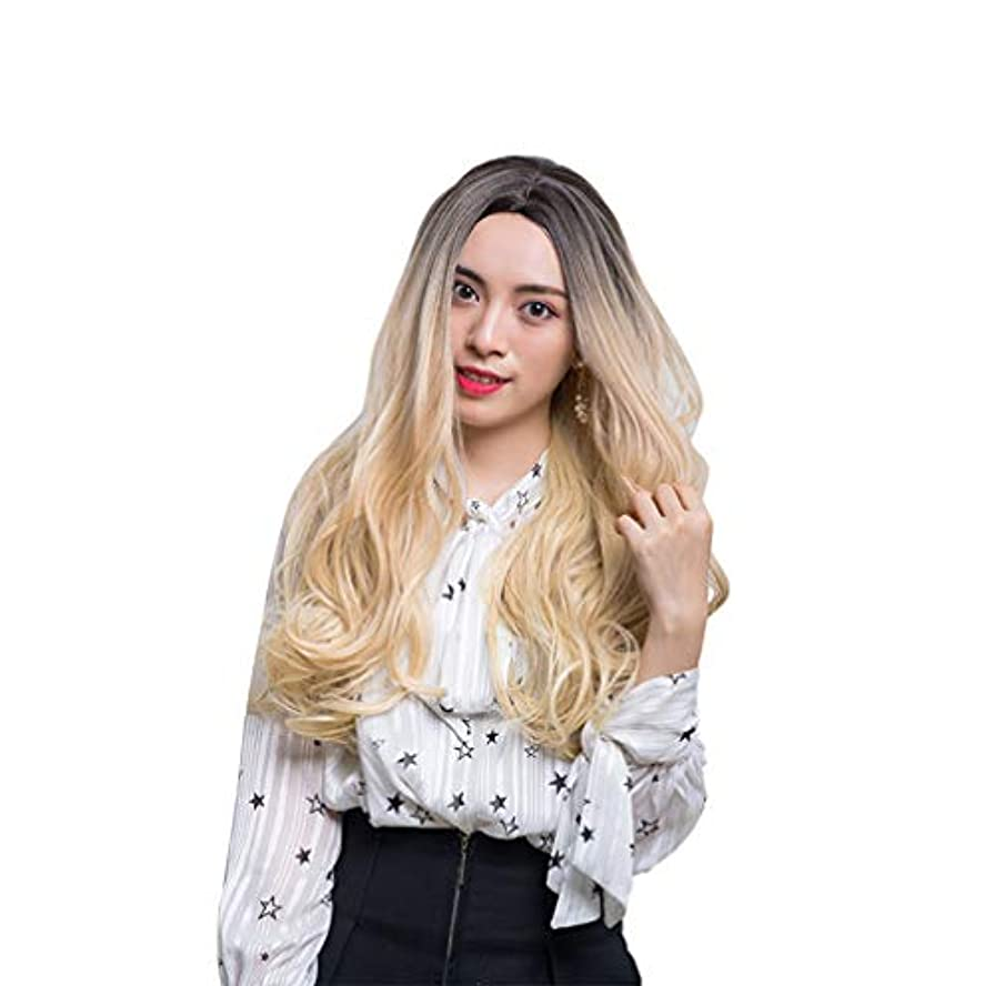 敵意完璧な仲間、同僚女性かつら150%高密度人間の髪の毛の長い波のかつら合成耐熱性安い中部かつら
