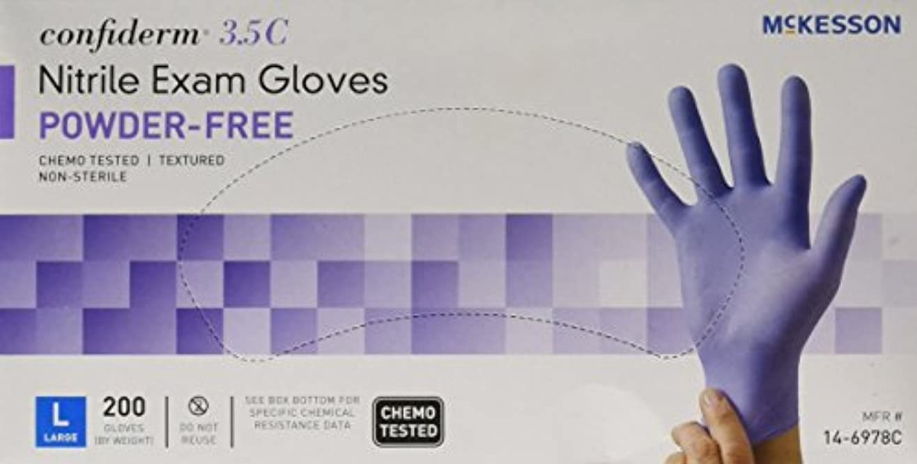 一次プロポーショナルベールMcKesson Confiderm 3.5C Nitrile Latex-Free LG Exam Gloves, Large, Chemo Tested, Powder-Free, 200/BX by Sold Individually