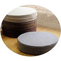 ふとんクッション生地の厚と洗える丸いリネンバルコニー窓畳の瞑想クッション,直径50×厚さ6,灰色