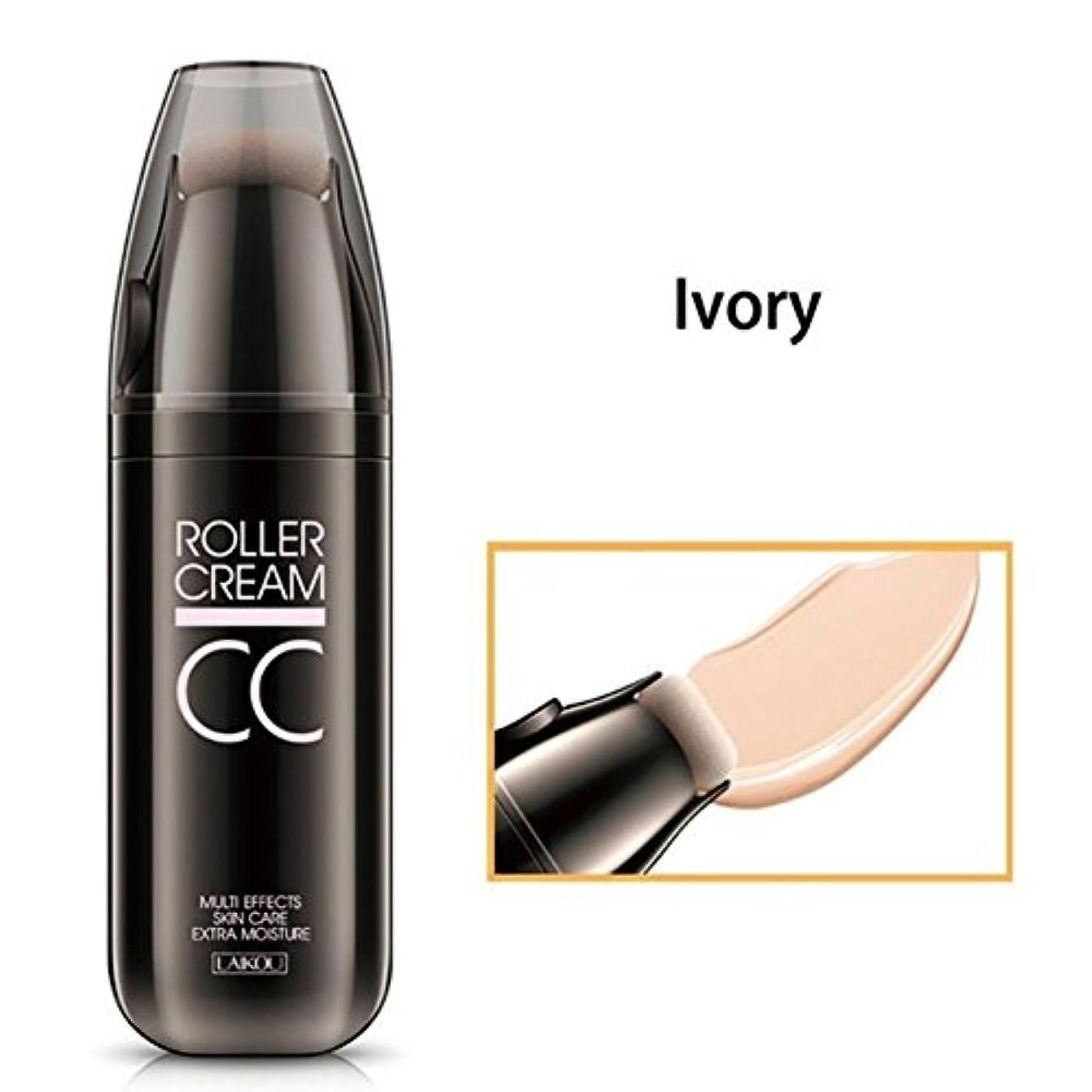 厚さ相関する厚さRabugoo CCクリームコンシーラーパウダーファンデーション、ローラースポンジパフモイスチャライザーオイルコントロールナチュラルメイク Ivory 30g