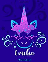 Emilia Sketchbook: Pink Unicorn Personalized First Name Sketch Book for Drawing, Sketching, Journaling, Doodling and Making Notes. Cute and Trendy, Fun and Fantasy Blue Custom Cover for Women, Girls, Adults, Kids, Teens, Children. Art Hobby Diary