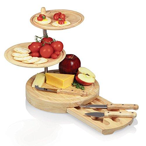 チーズナイフセット、プレート付きチーズボード(カッティングボード)
