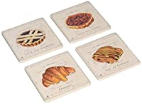 "CoasterStone AS98070 Absorbent Coasters, 4-1/4-Inch,""French Pastries"", Set of 4 [並行輸入品]"
