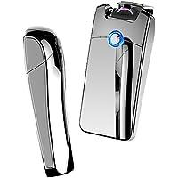 電子ライター USB 充電式 プラズマ アークライター ガス オイル 不要 強風下でも着火可 Hokonui (シルバー)
