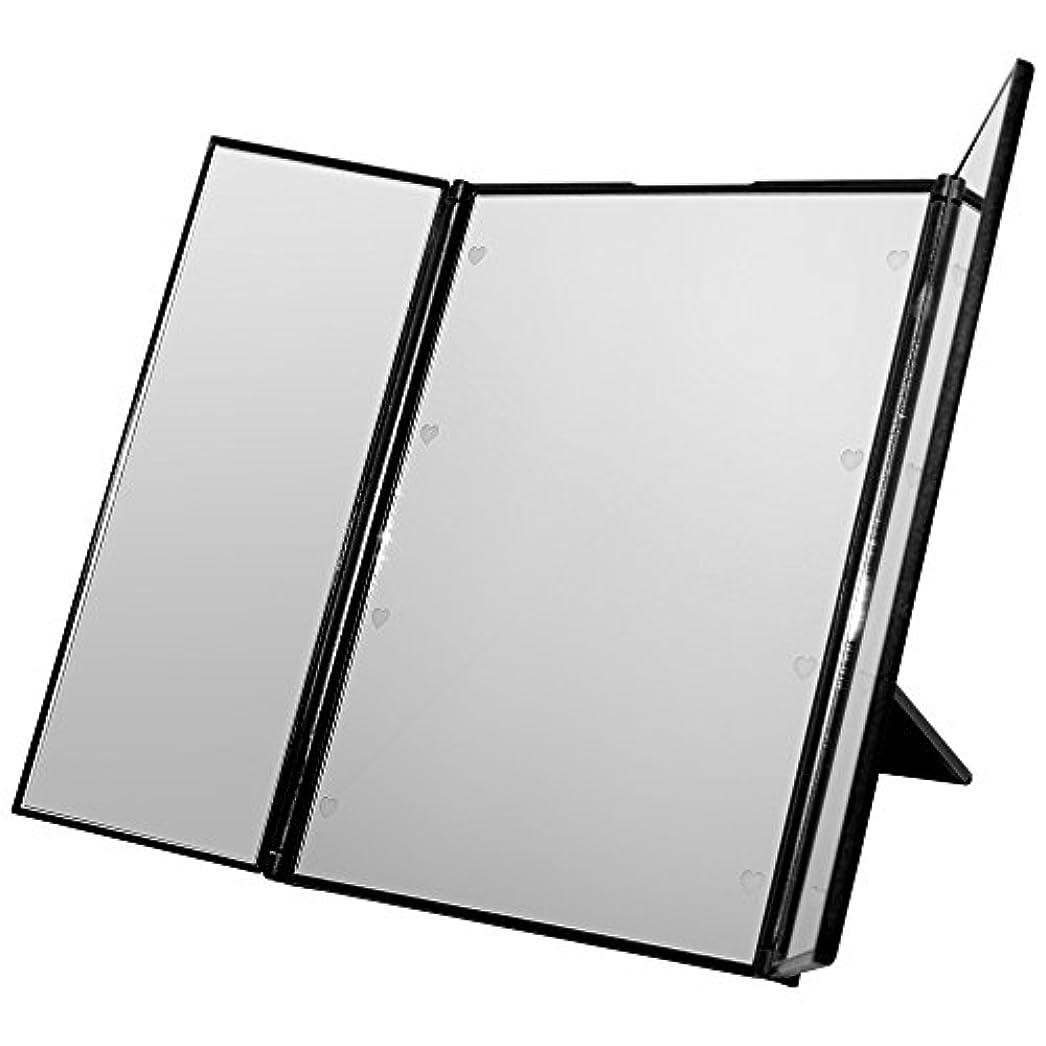 ボイコットレキシコンサラダGoodsLand 【 ハート型 LED ライト付 】 卓上 折りたたみ 三面鏡 大型 大きい かわいい スタンド ミラー メイク アップ ブライトニング GD-LED-3MR-BK