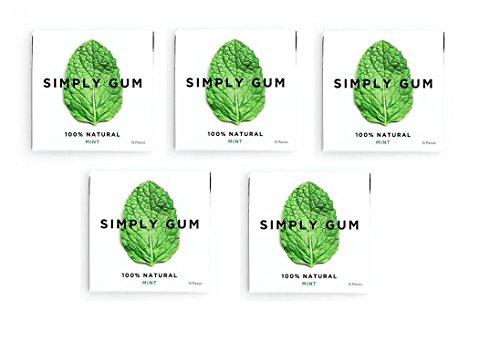 【海外直送】シンプル ガム (SIMPLY GUM), ナチュラル ミント味 15 Pieces (5個セット)