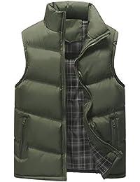 Aiweijia 秋と冬 男性 スリムフィット ベスト ジッパー コート 暖かく保つ コート トップ