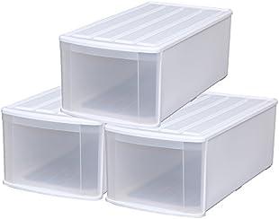 アイリスオーヤマ 収納ボックス チェスト 3個セット 幅37.6×奥行74×高さ28cm ホワイト/クリア ELD