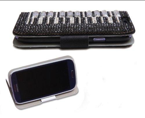 Galaxy note3ケース ギャラクシーノート3ケース 横開きタイプ 横支えタイプ 保護カバー レザーケース スワロフスキー風 キラキラ ピアノ ブラック