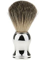 Hellery ひげブラシ シェービング ブラシ メンズ 理容 洗顔 髭剃り 泡立ち 11.2cm 全2色 - シルバーハンドル