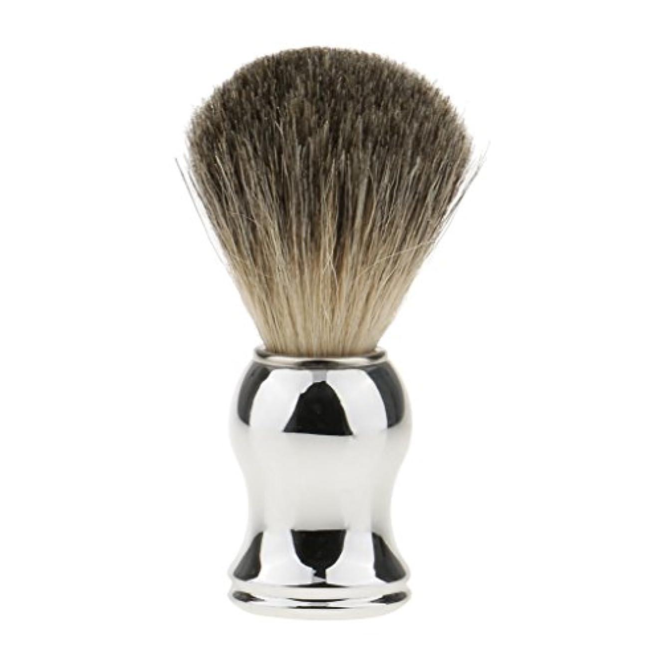 広まった鼓舞するボタンHellery ひげブラシ シェービング ブラシ メンズ 理容 洗顔 髭剃り 泡立ち 11.2cm 全2色 - シルバーハンドル
