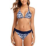 CharmLeaks Women's Two Piece Swimsuit Halter Solid Color Triangle Reversable Bikini Set