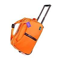SBJ 旅行バッグ 大容量 旅行かばん トラベルバッグ キャリーバッグ トロリーバッグ 軽量 バッグ ボストン 防水 出張 ナンバーロックキー付 (オレンジ orange)