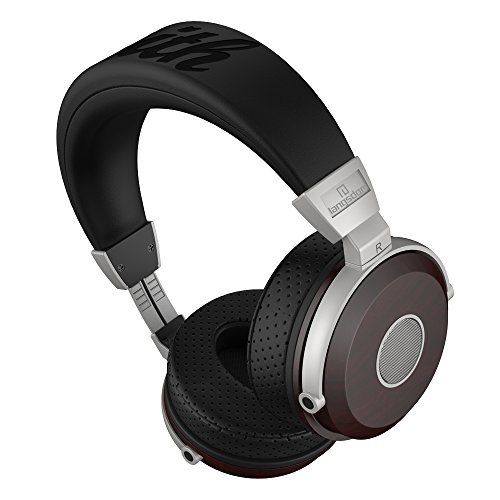 Langsdom  木製ヘッドホン ヘッドセット PS4(プレイステーション4)用 密閉型ヘッドフォン 高音質 ステレオ 重低音 DJユースモデル 音量調節 騒音隔離 胡桃木&ウッド FA890(紫檀)