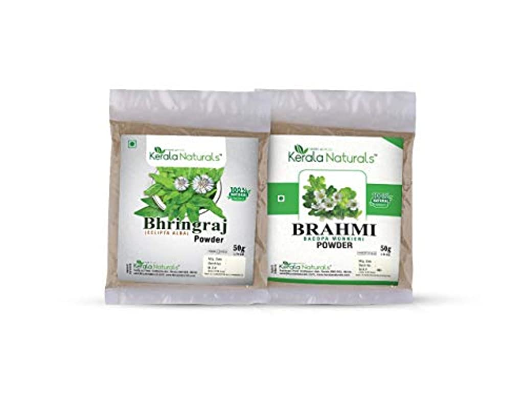 微弱弓蒸気Combo Of Bhringaraj Powder 50gm and Brahmi Powder 50gm - Natural Hair Regrowth, Reduce the number of Split ends...