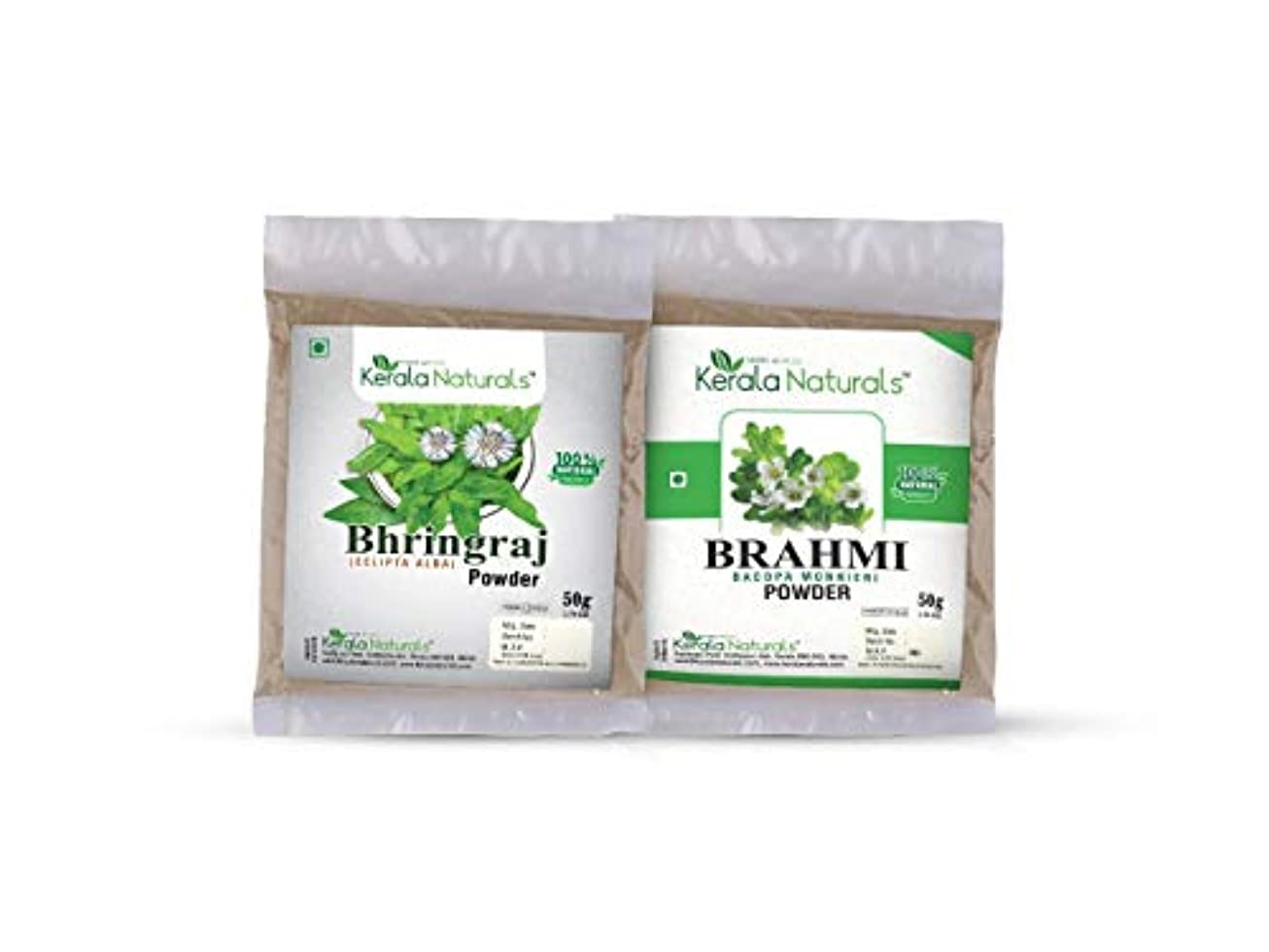 シェード斧ブラジャーCombo Of Bhringaraj Powder 50gm and Brahmi Powder 50gm - Natural Hair Regrowth, Reduce the number of Split ends...