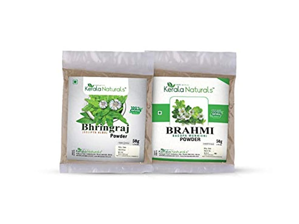既婚進む笑Combo Of Bhringaraj Powder 50gm and Brahmi Powder 50gm - Natural Hair Regrowth, Reduce the number of Split ends...