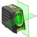 Huepar 2ライン グリーン レーザー墨出し器 クロスラインレーザー 緑色 すみだしレーザー 高精度 高輝度 ライン出射角130°&150° BOX-1G