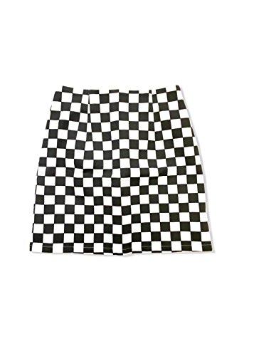 SPINNS フラッグチェックミニスカート BLACKxWHITE -