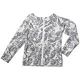 ロング ラッシュガード UVカット パーカー 長袖 UPF50+ 体型カバー レディース フーディー フィットネス おおきいサイズ おおきい サイズ スイムシャツ ラッシュパーカ HW8142 (ボタニカル L)