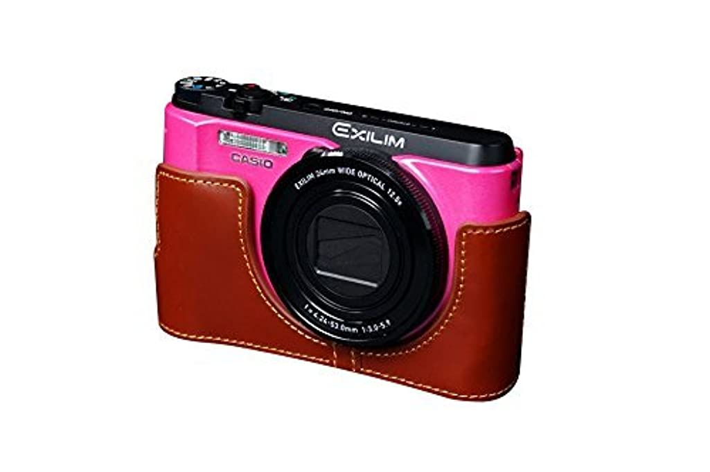 贈り物セッティング不運カシオ EX-ZR1200用本革カメラケース ブラウン