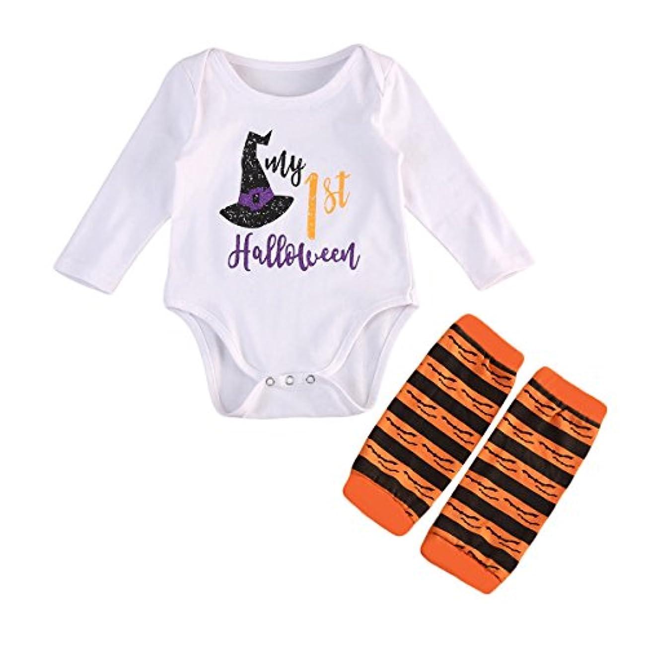 踏み台報復する擬人ロンパース ロングスリーブTシャツトップ 赤ちゃん 魔女の帽子のパターン ラウンドネック ホワイトジャンプスーツ パジャマ ストライプパターン ソックス かわいい ハロウィン 0-18ヶ月 (12-18ヶ月, ホワイト)
