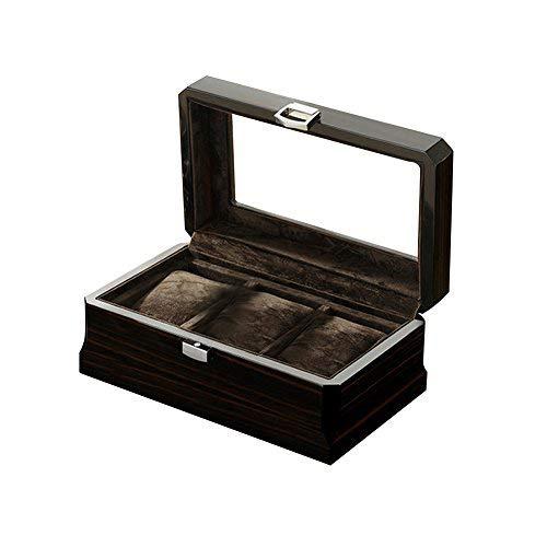 [ノーブランド品] 腕時計収納ボックス コレクションケース (ブラック, 3本)