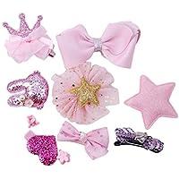 Large Capacity Outdoor Equipment 10pcs Girls Bowknot Ribbon Hairpin (Color : Pink)