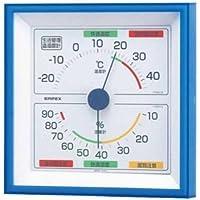 (まとめ)EMPEX 生活管理 温度?湿度計 壁掛用 TM-2476 クリアブルー【×3セット】
