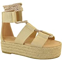 Fashion Thirsty Womens Wedge Flatform Sandals Rope Ankle Lace Tie Up Platform Summer Espadrilles by Heelberry®