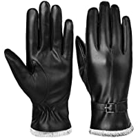 VBG VBIGER Women Winter Gloves Warm PU Faux Leather Gloves All Fingers Touchscreen Gloves Black Driving Gloves for Ladies