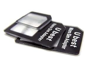 SIM変換アダプター 4点セット (国際規格 標準SIM, microSIM, nanoSIM) for iPhone5 / 4S / 4 / 3GS / 3 黒 Ubest製