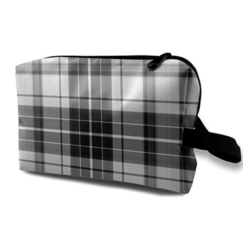 ペパーミント統計的時系列Scottish Black And White Plaid 収納ポーチ 化粧ポーチ 大容量 軽量 耐久性 ハンドル付持ち運び便利。入れ 自宅?出張?旅行?アウトドア撮影などに対応。メンズ レディース トラベルグッズ
