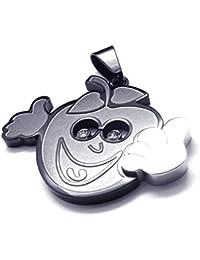 [テメゴ ジュエリー]TEMEGO Jewelry メンズステンレス鋼ファッションペンダントラブリーネックレス、ブラックスマイル[インポート]