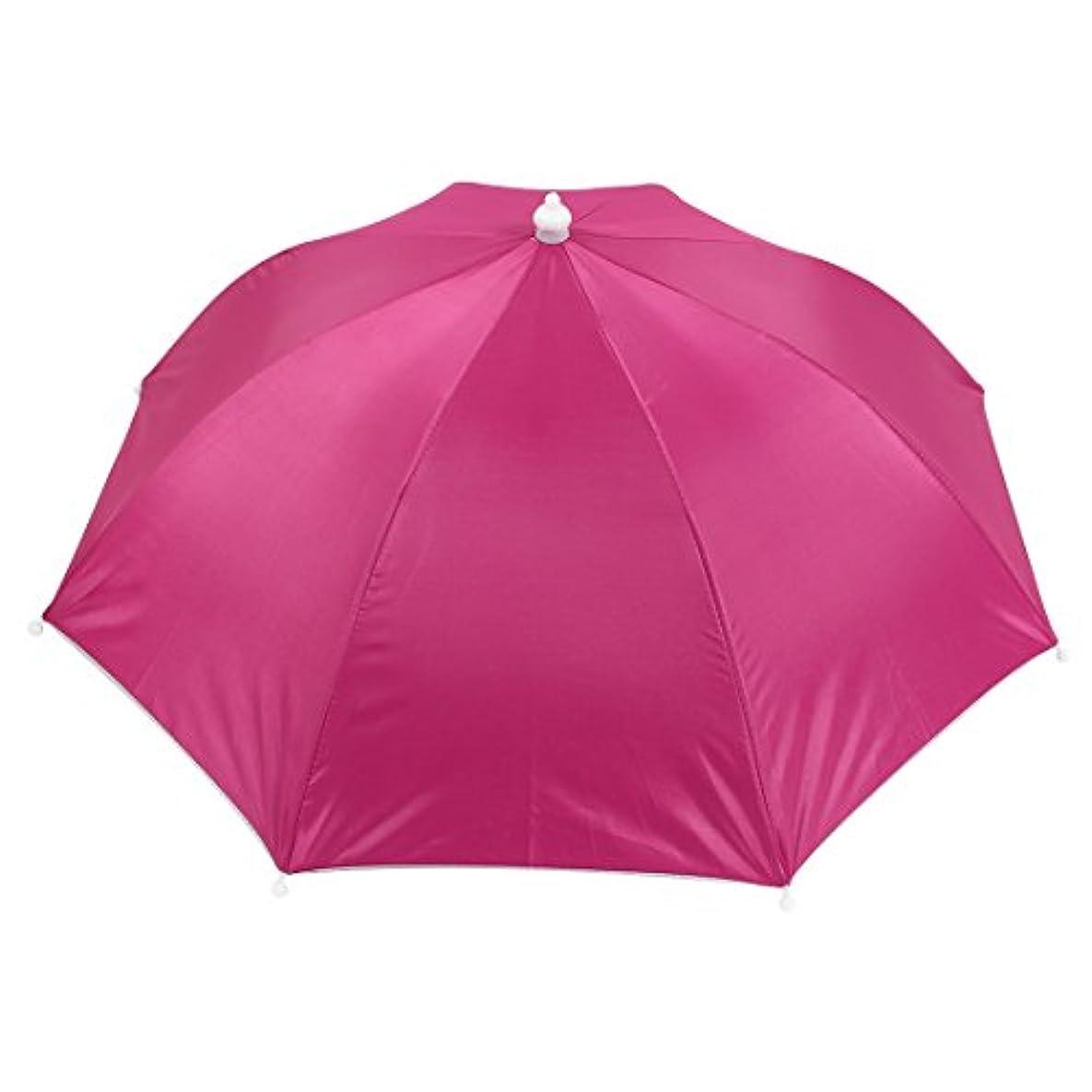 好ましいディレクトリ請うuxcell 釣り傘 傘帽子 釣り用 ヘッドバンド 釣り傘 傘帽子 傘ハット ゴムバンド ポータブル 日保護 フクシア 50cm - 58cm