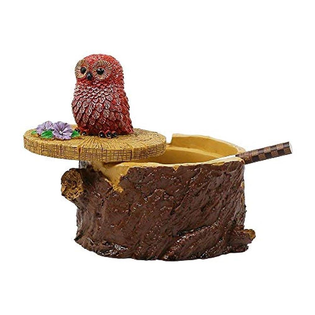 杖配管工カレッジタバコのための屋外灰皿家庭と庭のための蓋のかわいい樹脂フクロウの灰皿