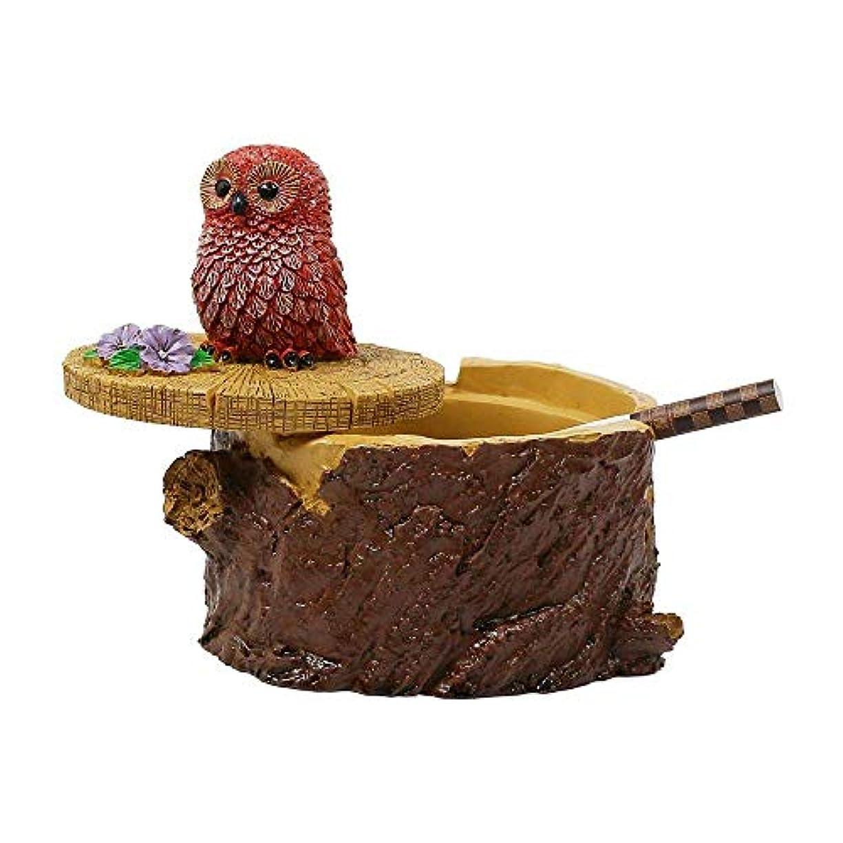 葉巻障害者小石タバコのための屋外灰皿家庭と庭のための蓋のかわいい樹脂フクロウの灰皿