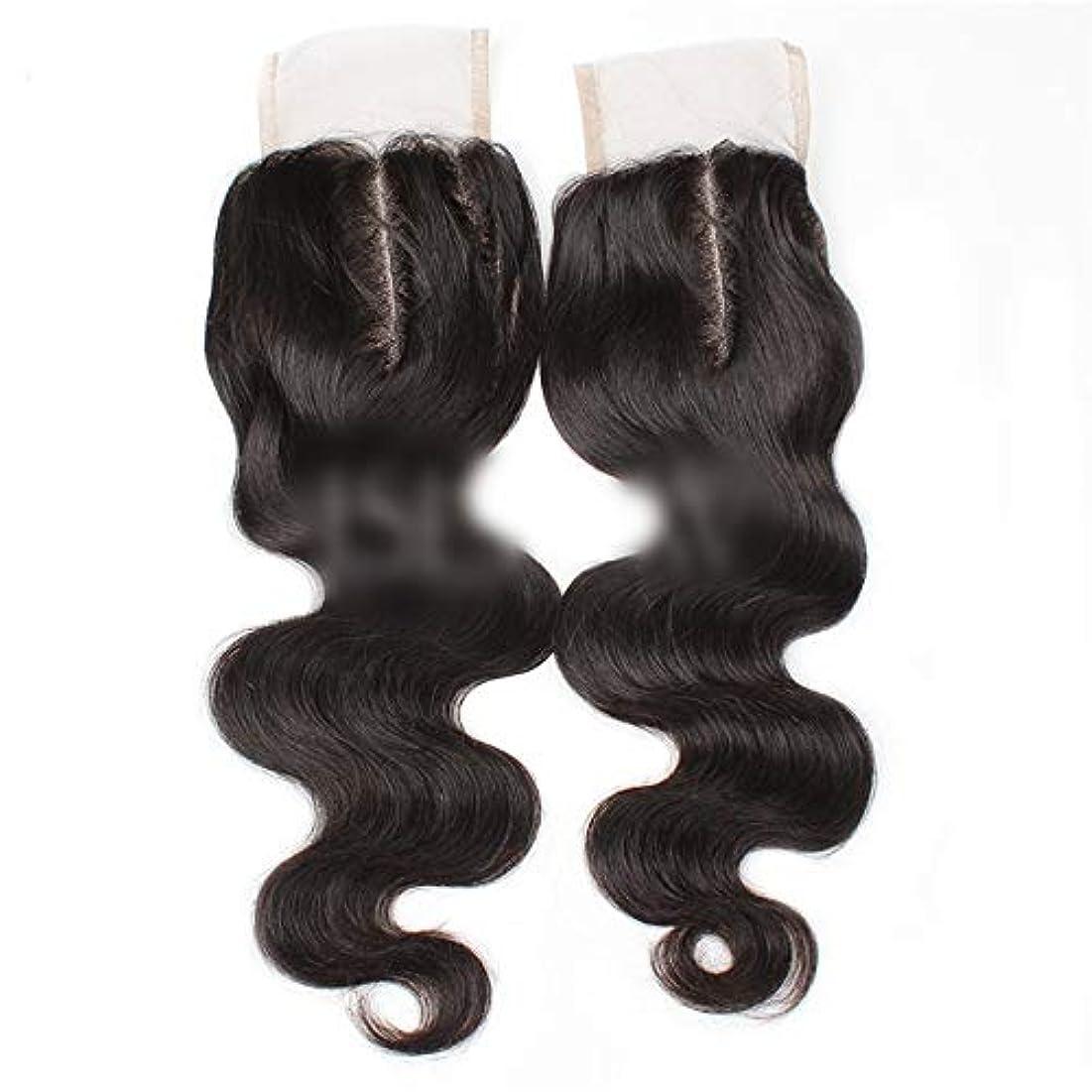 ミット謙虚な廃棄するWASAIO ブラジルの髪の女性生物ブラック8用ボディウェーブ上腹部パート人間の髪「-20」4X4レースクロージャー (色 : 黒, サイズ : 18 inch)