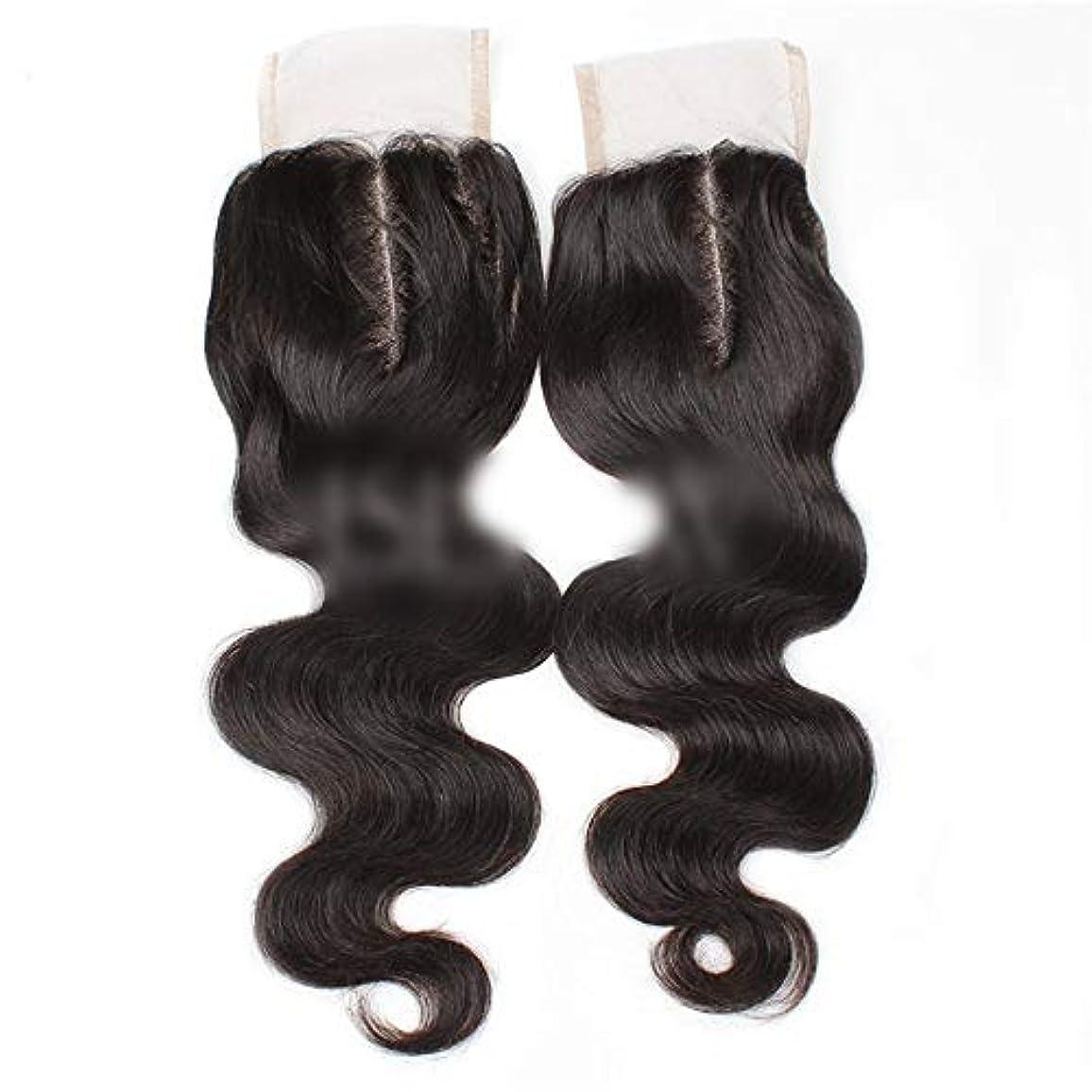 遊びますビバ落ち着かないHOHYLLYA 9aブラジル髪実体波中間部4×4レース閉鎖人間の髪の毛ナチュラルブラック8