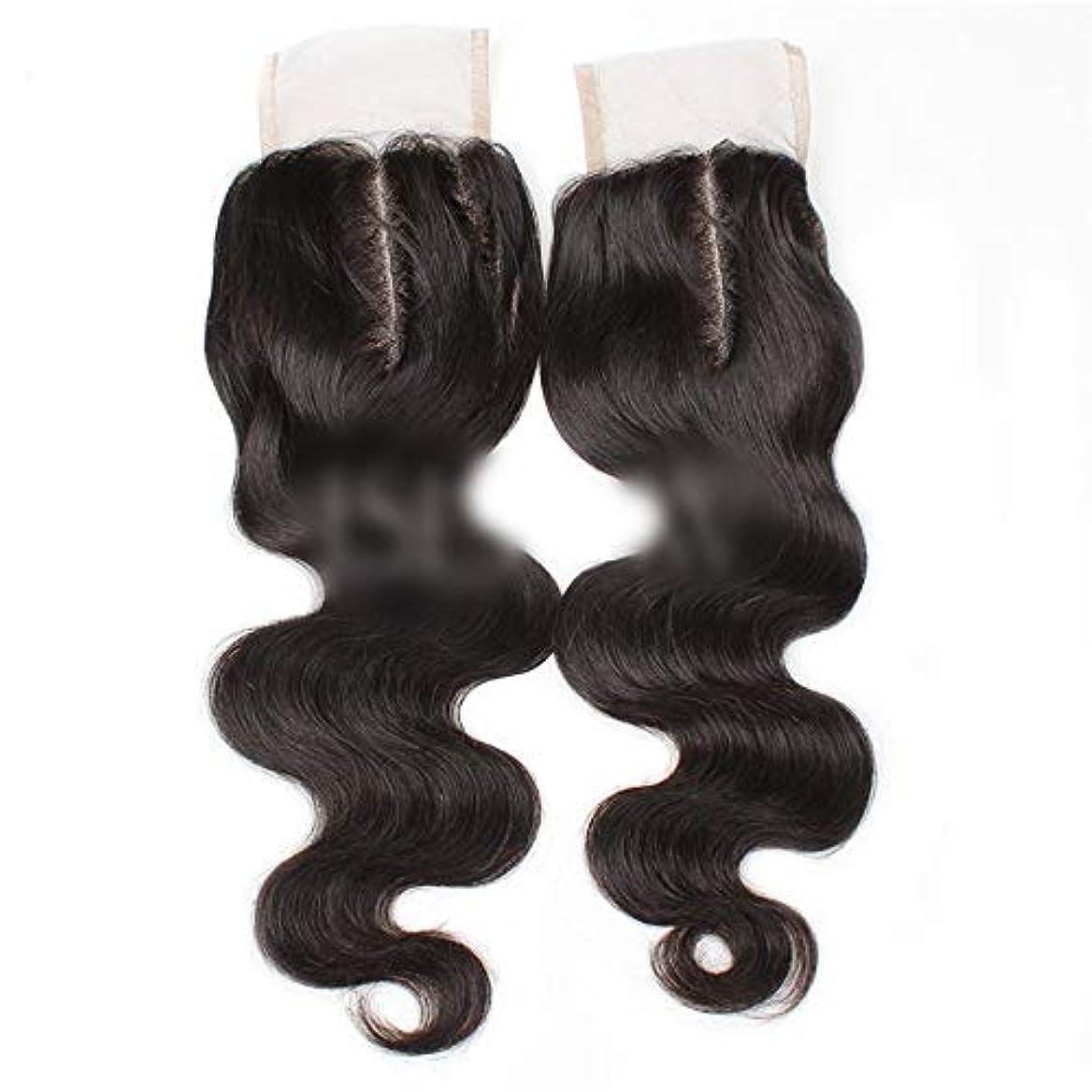 スタック発信許可するHOHYLLYA 9aブラジル髪実体波中間部4×4レース閉鎖人間の髪の毛ナチュラルブラック8