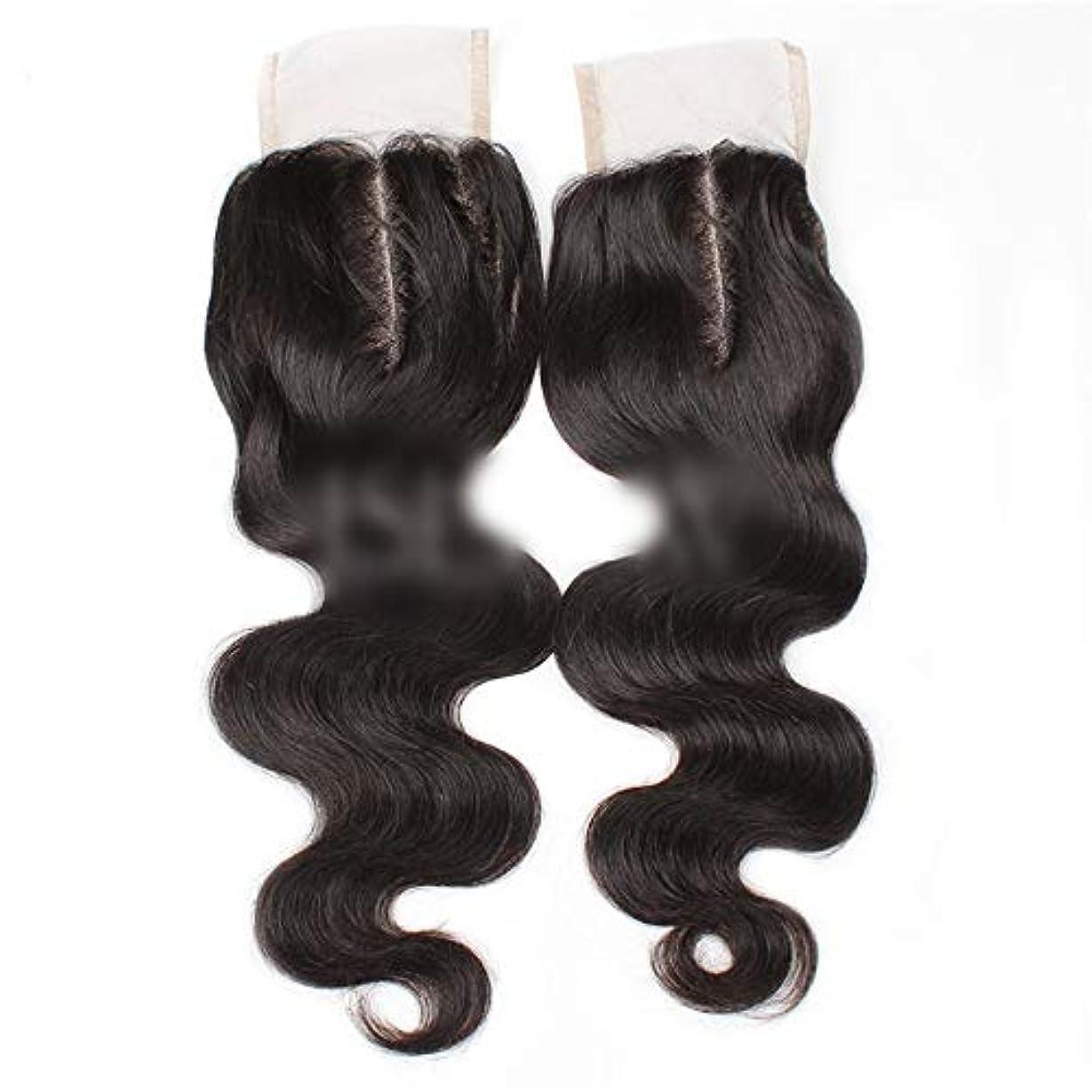 彼らの物理縁石HOHYLLYA 9aブラジル髪実体波中間部4×4レース閉鎖人間の髪の毛ナチュラルブラック8